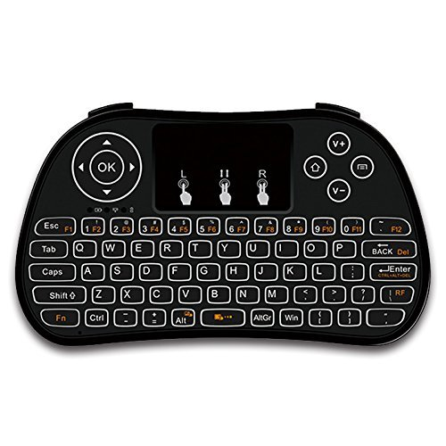 RabbyRock Mini Wireless Keyboard and Touchpad Mouse Combo - 2.4Ghz Colorful Backlit Handle Control - Best Remote Control & Rechargeable Combos for PC, Pad, Google Android TV Box (S5) by RabbyRock