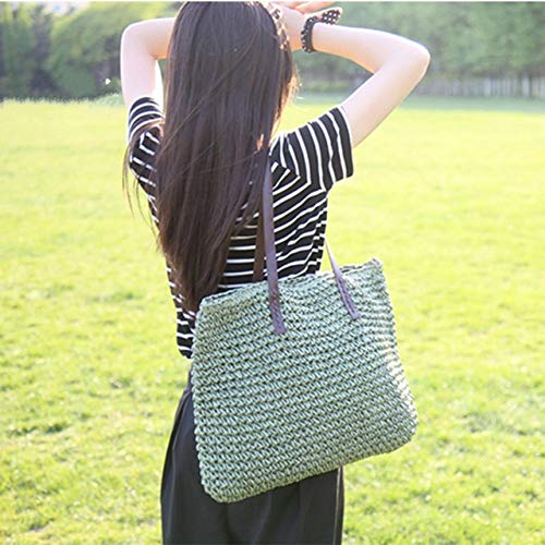 (Moonnight Store Women Handbag Summer Beach Bag Rattan Woven Handmade Knitted Straw Large Capacity Totes Leather Women Shoulder Bag Bohemia New (Green))