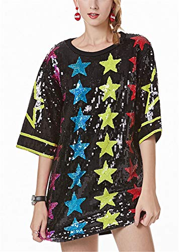 Womens ins Fashion Sparkle Glitter Sequins Paillette Colorful Stars Letters Printed Hip Hop Loose Long Tunic Shirts Tank Tops Bar Party Clubwear Dress Black