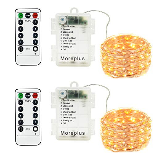 Moreplus Battery Operated Fairy String Lights Waterproof 8 Modes 16.5ft 50 LED Decorative Lights with Remote Control for Outdoor Indoor Bedroom Garden Wedding Christmas Decor