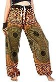 Lofbaz Women's Drawstring Rose 1 Harem Boho Genie Pants Green M