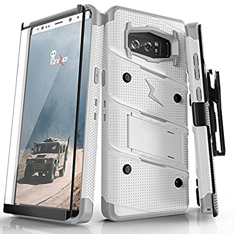 Samsung Galaxy Note 8 Case, Zizo [Bolt Series] FREE [Curved Full Glass Screen Protector]Kickstand[12 ft. Military Grade Drop Tested]Holster Note - Series Note