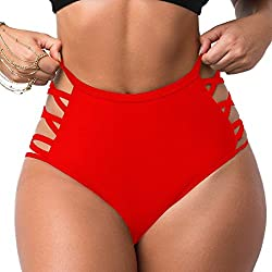 Colo Women Sexy Bikini Bottoms Lace Strappy Sides High Waisted Retro Bathing Suit Underwear Swimsuit L Red