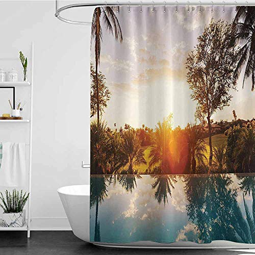 Shower Curtains Fabric red Hawaiian Decorations,Home with Swimming Pool at Sunset Tropics Palms Private Villa Resort Scenic View,Orange Teal W72 x L96,Shower Curtain for Women