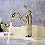 FeN Gold Jade Taps,Bathroom Hot And Cold Faucet,Swivel Sink Single Hole Tap,Hotel Counter Basin Creative Mixer