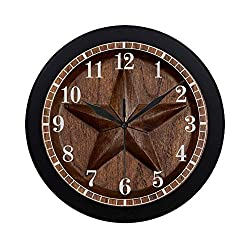 InterestPrint Western Texas Star in Wood Round Quartz Wall Clock Large Number Clock for Office School Kitchen Bedroom Living Room Decor, Black