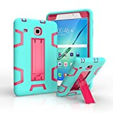 Samsung Galaxy Tab E 8.0 Case, [Heavy Duty] High Impact Hybrid Drop Proof Armor Defender Protection Case Built With Stand for Samsung Galaxy Tab E 32GB T378/Tab E 8.0 Inch T377 Tablet(Green+Rose)
