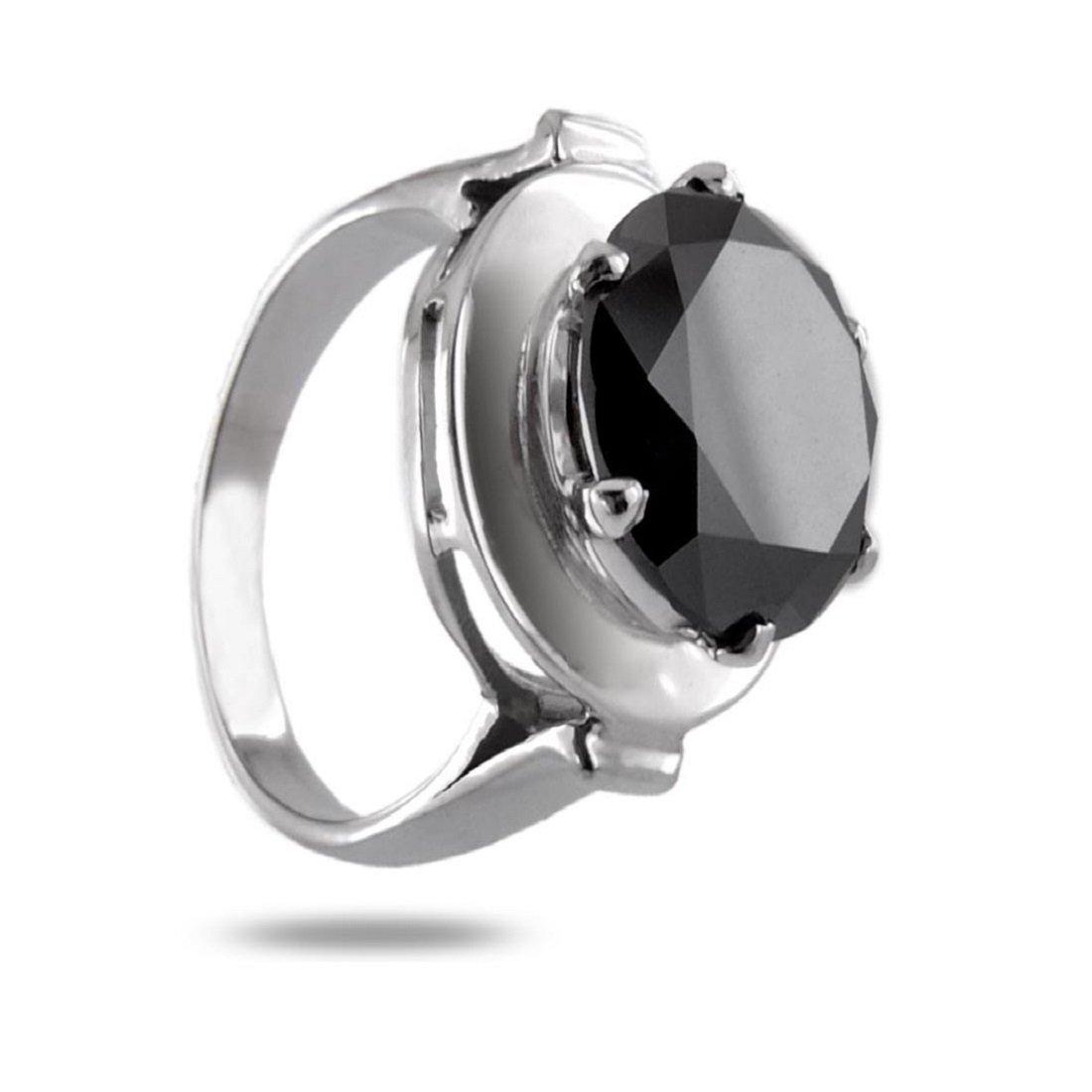 skyjewels 4 ct認定ラウンドブラックダイヤモンドソリティアリング925スターリングシルバー   B077RYQ516