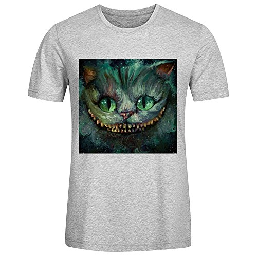 Cheshire Cat Were All Mad Here Men's cotton T shirt O neck Grey