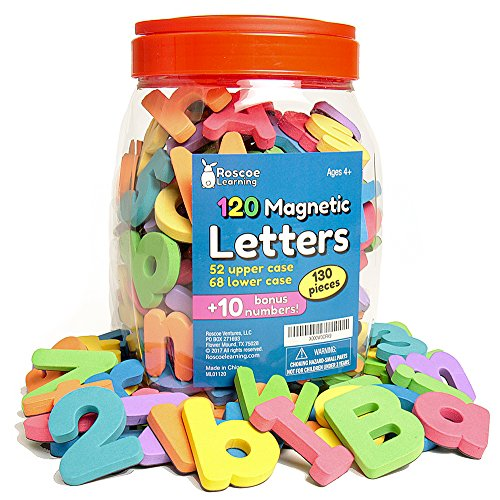 Roscoe Learning Magnetic Letters and Numbers- 130 Foam ABC Magnets with Storage -