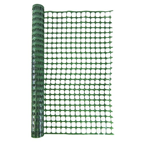 Houseables Safety Fence, Silt Fencing, Single, Green, 4 x 100' Feet, Above Ground, Mesh Netting, Temporary, Plastic Barrier, For Kids, Swimming Pool, Snow, Garden, Lawn, Rabbits, Poultry, Dogs, Cats