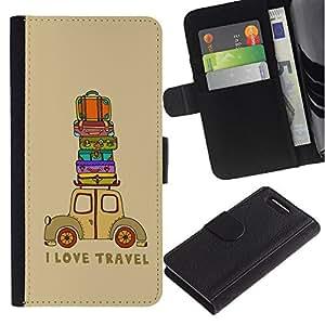 Sony Xperia Z1 Compact / Z1 Mini / D5503 Modelo colorido cuero carpeta tirón caso cubierta piel Holster Funda protección - Quote Travel Suitcase Brown