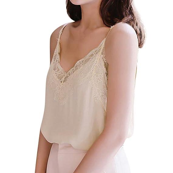 DOGZI Camisa Mujer Verano Chaleco Sin Mangas De Encaje Casual para Mujer Camisa Blusa Sin Mangas