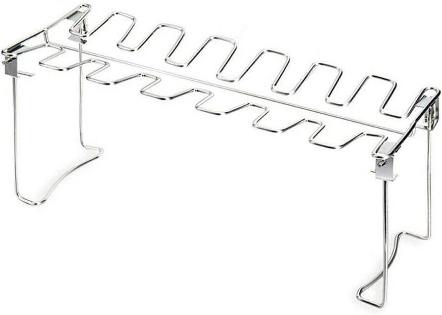 Optionale Auffangwanne XQK H/ähnchenschenkel Wing Grill Rack BBQ H/ähnchenkeulen Griller Halter Edelstahl H/ähnchenschenkel Kochregal Zubeh/ör Ohne Platte