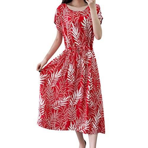 Dress Plus Size Tunic Swing T-Shirt Dress Short Sleeve Maxi Dress Bohemian Beach Casual Ladies Print Mid-Calf Dress Women (L,Red)