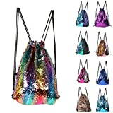 ZTMY Glitter Sequins Backpack Drawstring Backpack Sackpack Bling Shining Bag Shoulder Bag (Multicolor) For Sale