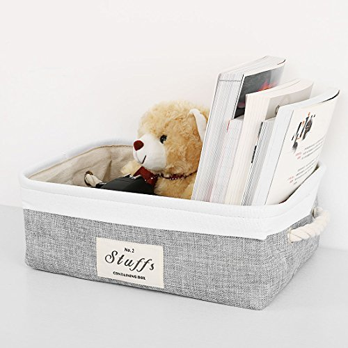uxcell Folding Canvas Fabric Storage Basket Bin Container Organizer Cube Laundry Hamper w/Cotton Rope Handles for Clothes, Laundry, Toys, Books & More (Rectangle,Gray) by uxcell (Image #1)