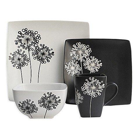 American Atelier Marisole 16-Piece Dinnerware Set in Black/W