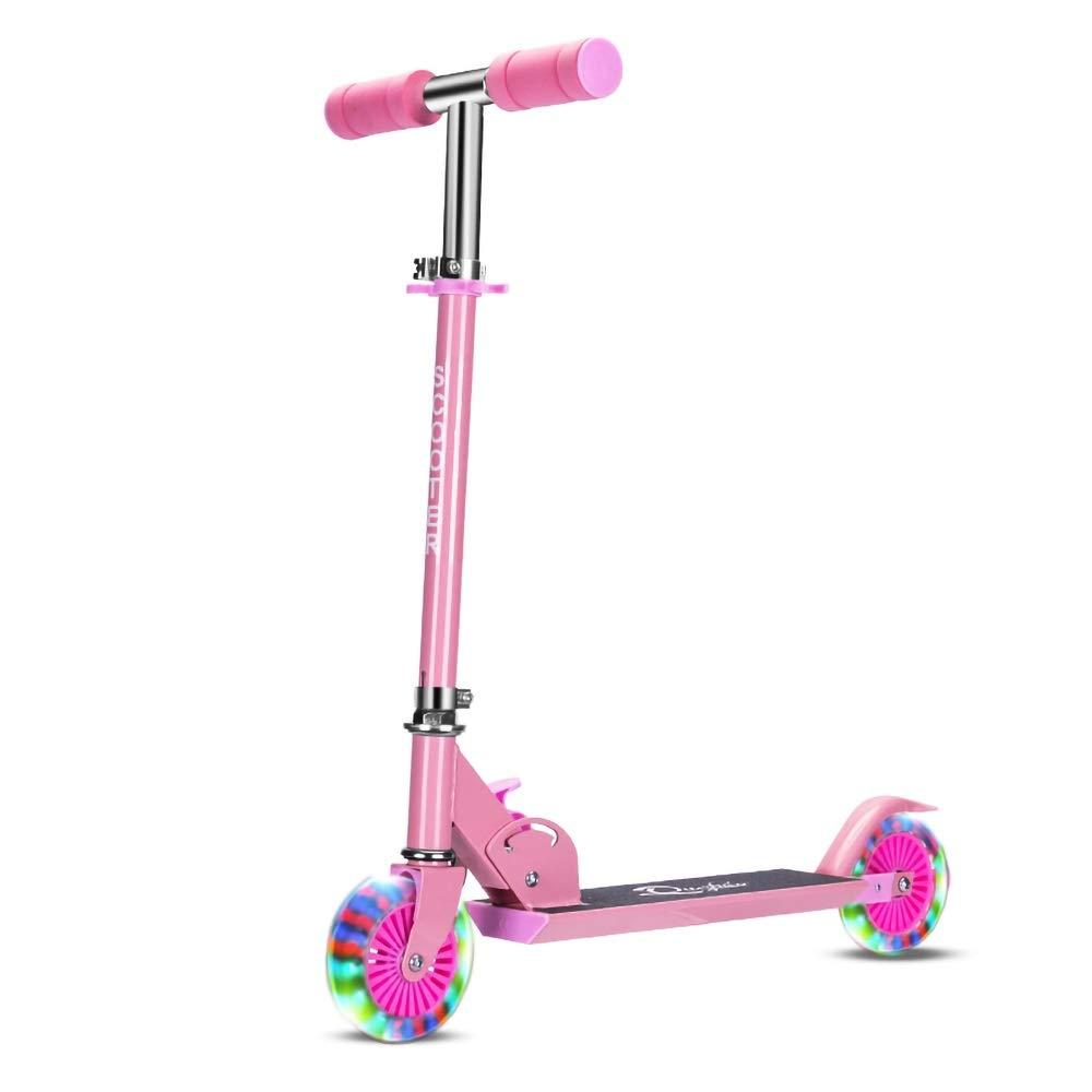 Wink zone 子供用2輪スクーター、折りたたみ式、PUフラッシュホイール、ベビーカースクーターに最適 購入へようこそ ( Color : ピンク )