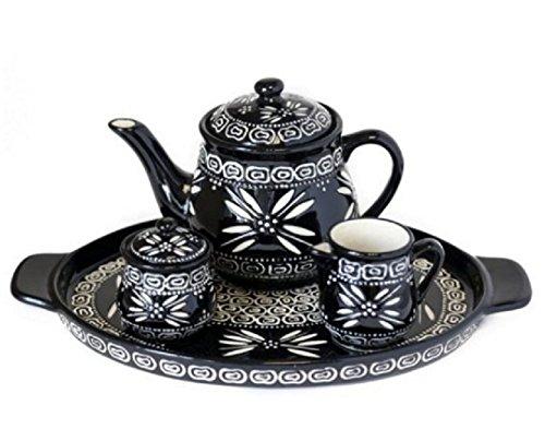 Temp-tations Carved Old World Black 4-pc. Tea Pot Set w/ Teapot, Sugar, Creamer, & Tray