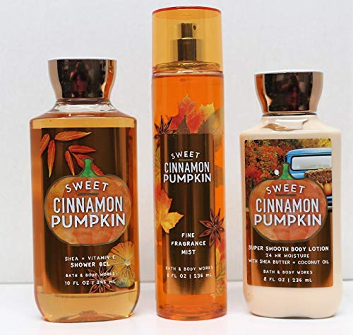 Bath and Body Works Sweet Cinnamon Pumpkin Shower Gel, Body Lotion, Fine Fragrance Mist Daily Trio 2018