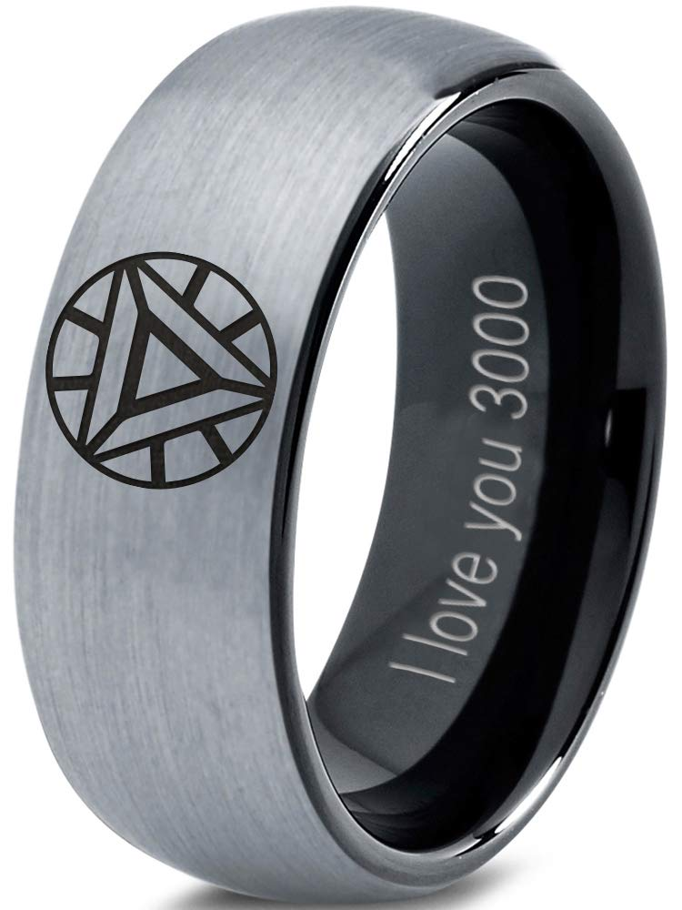 Zealot Jewelry Tungsten Quote I Love You 3000 Engraved Band Ring 8mm Men Women Comfort Fit Black Dome Brushed Gray Polished Size 10