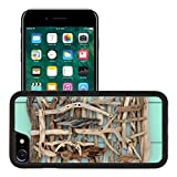 MSD Premium Apple iPhone 7 iPhone7 Aluminum Backplate Bumper Snap Case IMAGE ID: 33780164 Driftwood abstract design on wooden green background