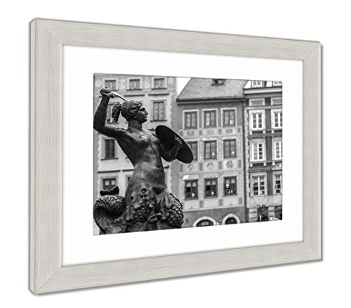 Ashley Framed Prints Mermaid In Warsaw, Contemporary Decoration, Black/White, 26x30 (frame size), Silver Frame, AG5924746