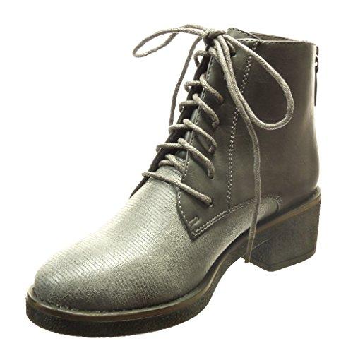 Angkorly Damen Schuhe Stiefeletten - BI-Material - Hohe - Spitze - Linien Blockabsatz High Heel 4.5 cm cm Grau