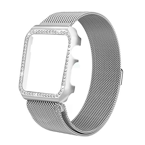 iVeze Compatible with Apple Watch Bands 42mm Plus Bling Case, Stainless Steel Milanese Loop Band with Magnetic Clasp Compatible with Apple Watch Series 3/2/1 Silver