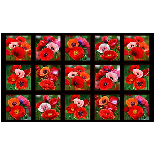 (Elizabeth's Studio Poppies 24in Panel Black Fabric)