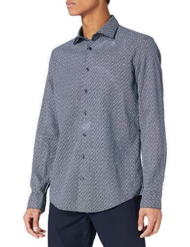 Seidensticker Herren Slim Langarm Linen Hemd, Blau (Blau 19), (Herstellergröße: 40)