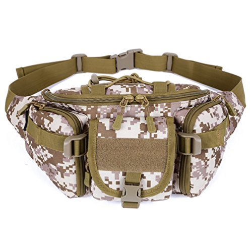 UNISTRENGH Tactical Waist Pack Military Fanny Belt Pouch Water Resistance Bum Bag for Outdoor Climbing Fishing Running Hunting (Desert Camo)