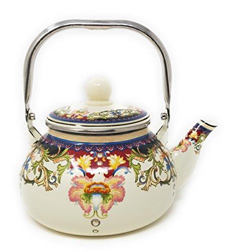 Tea Pot Goose neck. Enamel on Steel Tea Kettle, stovetop 2-Quart. Floral design pretty Teakettle for gift.