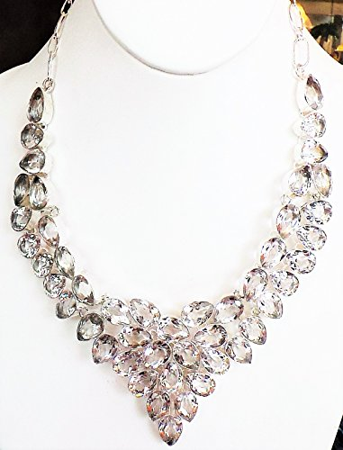 Elegant Royal White Topaz 925 Sterling Silver Statement Necklace