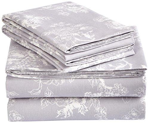 Floral Flannel Sheets (Pinzon 170 Gram Flannel Sheet Set – Queen, Floral Grey)