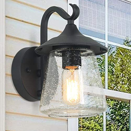 ISURAUL Farmhouse Porch Light, Black Outdoor Light Fixtures Wall Mount with Clear Seeded Glass for Entryway, Garden, Doorway