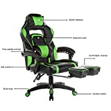 Gaming Chairs Best Deals - Merax High-Back Racing Home Office Chair, Ergonomic Gaming Chair with Footrest, PU Leather Swivel Computer Home Office Chair incluing Headrest and Lumbar Support (green)