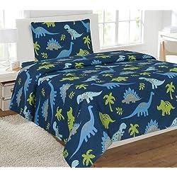 Fancy Linen Collection Twin Size 3 Pc Sheet set Dinosaur Blue Light Blue Grey Green # Dinosaur Blue New