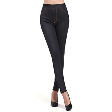 058807a1841b4 Gaorui women fleece lined thick warm stretch jeggings leggings jeans skinny  trousers  Amazon.co.uk  Clothing