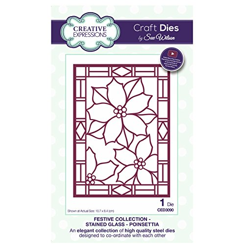 Sue Wilson CED3090 Festive Collection Stained Glass - Poinsettia