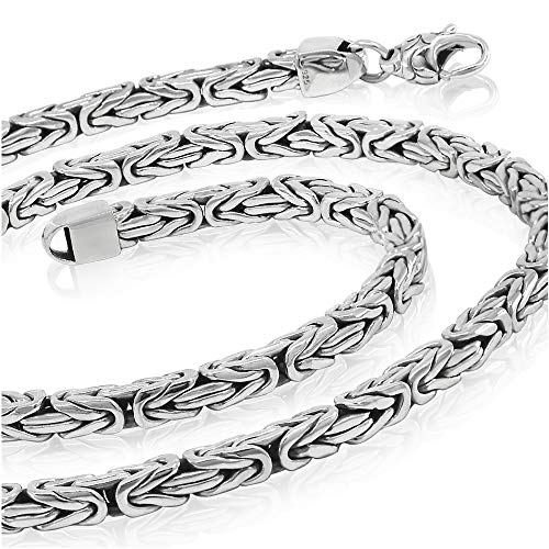 Sterling Silver 5mm Rope Necklace - Woven Rope 5mm 925 Sterling Silver Necklace Men Chain - Made in Thailand – 18