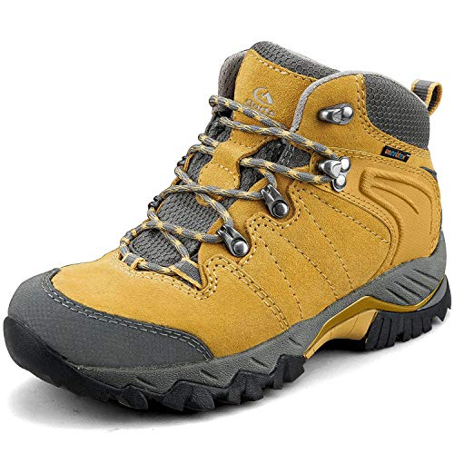 Clorts Women's Classic Hiking Boots Waterproof Suede Leather Lightweight Hiking Shoes Yellow US Women Size 8.5 Medium Width