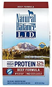 Natural Balance Limited Ingredient Diets High Protein Dry Dog Food, Beef Formula, Grain Free, 4-Pound