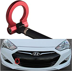 DEWHEL JDM Folding Screw On Racing T2 Tow Hooks Front Rear for 10-16 Hyundai Genesis Coupe (Red)