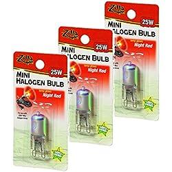 Zilla Mini Halogen Lamp Reptile Bulb, 25-watt, Night Red (3 Pack)