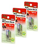 Zilla Mini Halogen Lamp Reptile Bulb, 25-watt, Night Red (3 Pack)