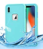 iPhone Xs Max Waterproof Case,Dailylux iPhone Xs Max Shockproof Full-Body Rugged Cover IP68 Certified Snowproof Shockproof Dustproof Built-in Screen Protector for iPhone Xs Max 6.5 inch,Mint Green