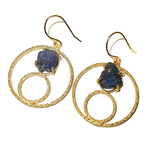 Tanzanite Rough (18k Gold Plated Rough Tanzanite Gemstone Round Circle Design Dainty Earrings)