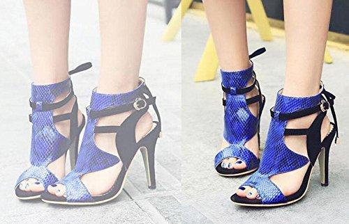 Charming Roman Sandals Open Black Strap 43 Color Serpentine Size Pump Ankle Hollow Toe Women 32 Splicing Shoes vqfPB